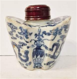 Chinese blue and white tea caddy, circa 1900