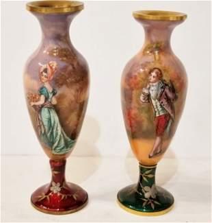 Pair of Vienna enamel vases, circa 1900