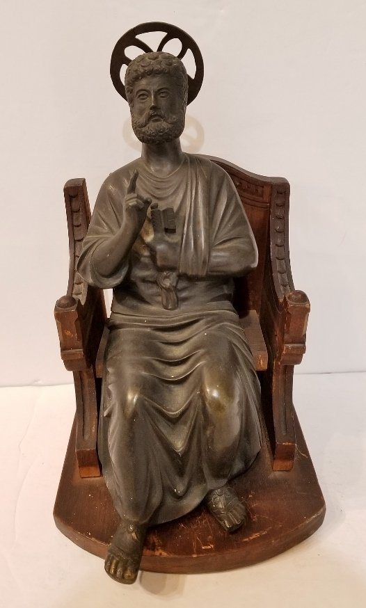 Bronze of Saint Peter in wood throne, 19th