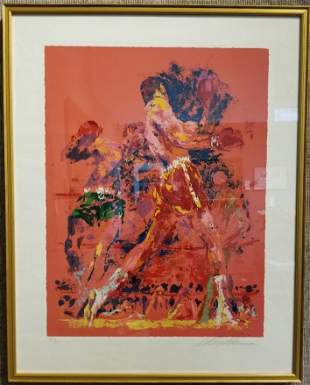 """Leroy Neiman lithograph, """"Red Boxers"""""""