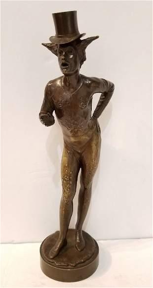 """A Roman Clown"" bronze by Hans Latt, Rome 1885"