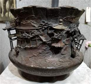 Japanese bronze of a village in rotunda, 19th century