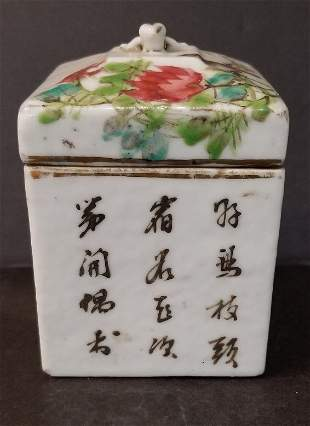 Chinese porcelain box with writing, c.1900