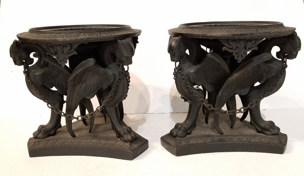 Pair of Grand Tour lead Roman garden urns, c1880