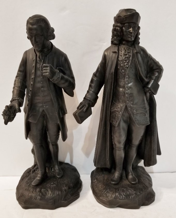 Pair of Wedgwood Basalt fig of 18th cent men, c.1900