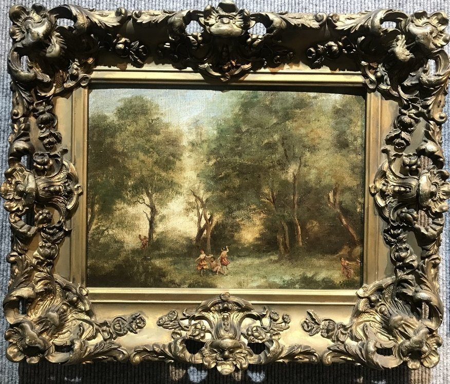Old Master painting, figures in the woods, 19th