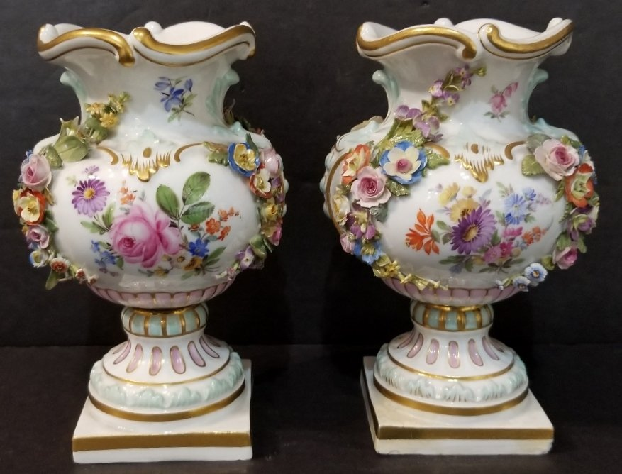 Pair of Meissen urns, circa 1900