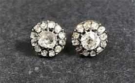 14k antique diamond stud earrings, 1.6 dwts