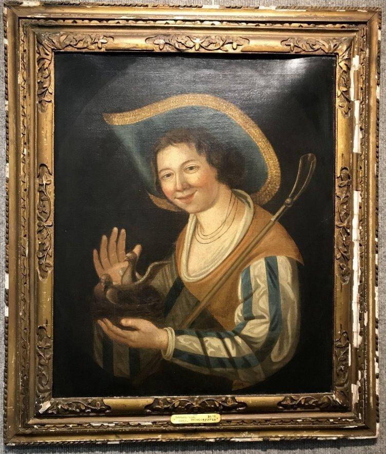 """Old Master painting, """"Birdcatcher"""" by Van Hoogstraten"""