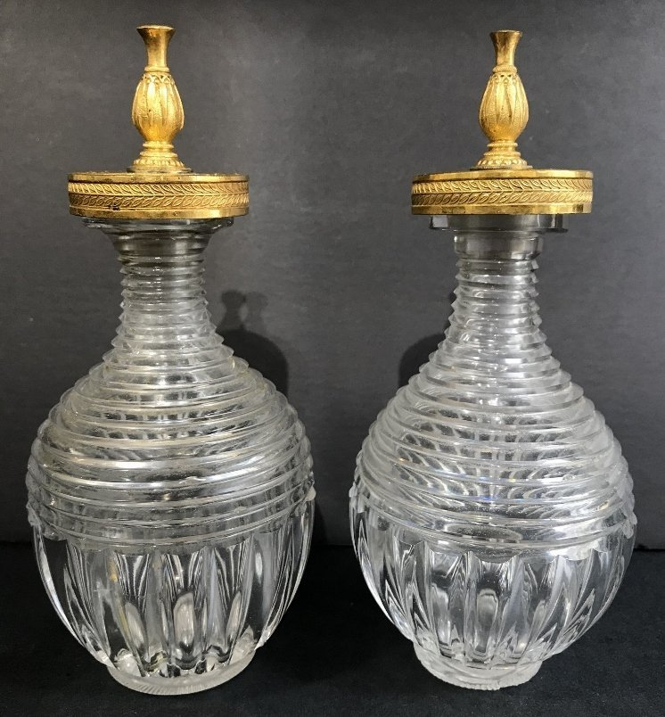 Pair of Russian or French gilt scent bottles, c.1900