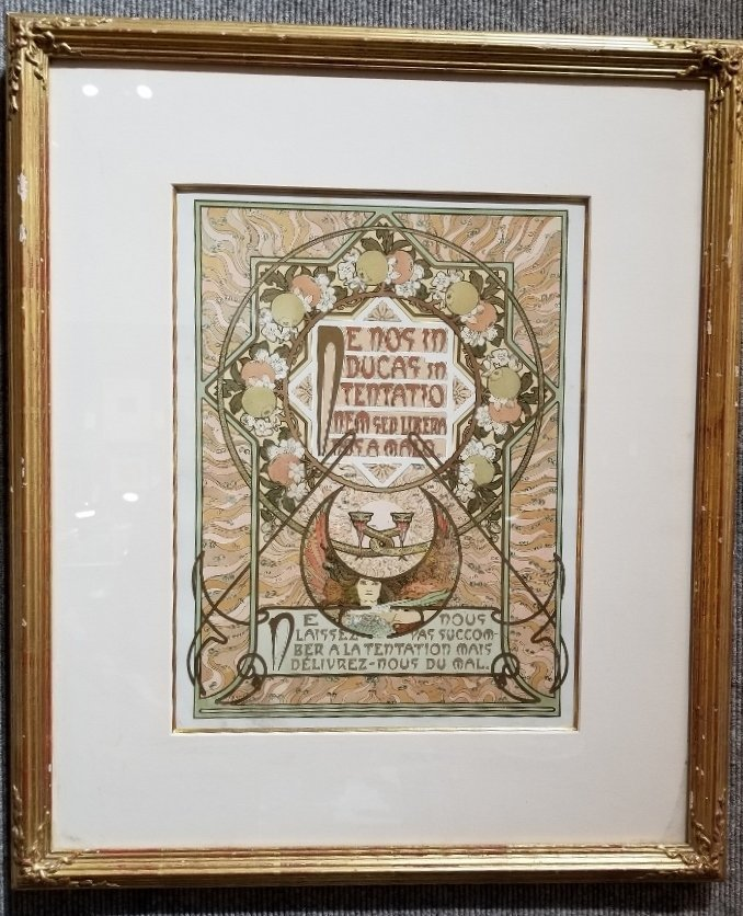 """Litho by Alphonse Mucha """"Lead us not into"""""""