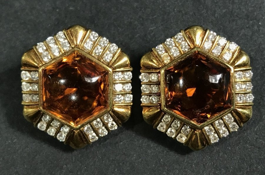 18k and Cartier citrine and diamond earrings, 23 dwts