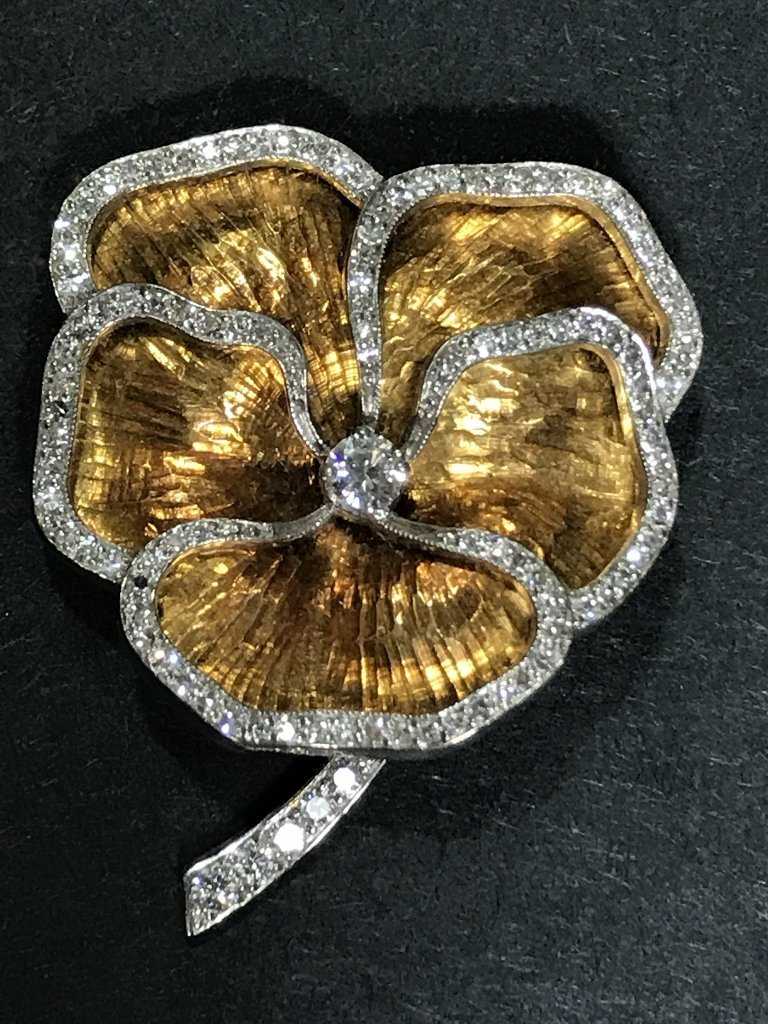 18k, plat and diamond Cartier pansy brooch, c.1930.