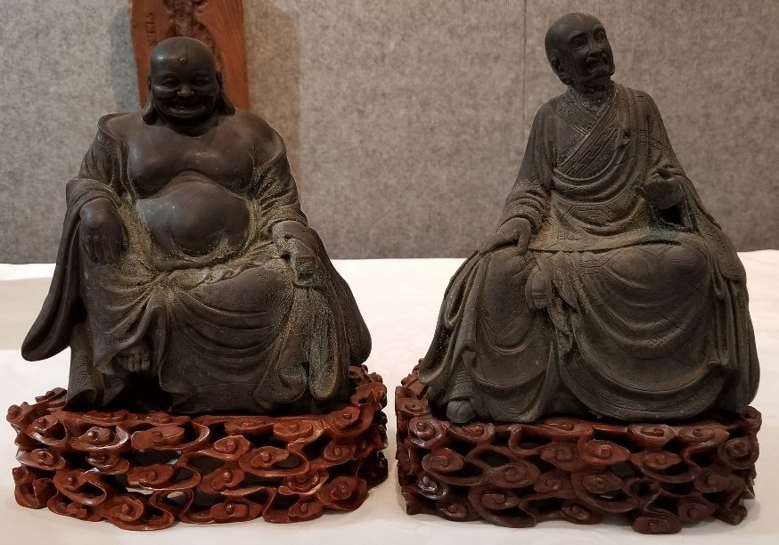 Pair of bronze Chinese Lohan sculptures
