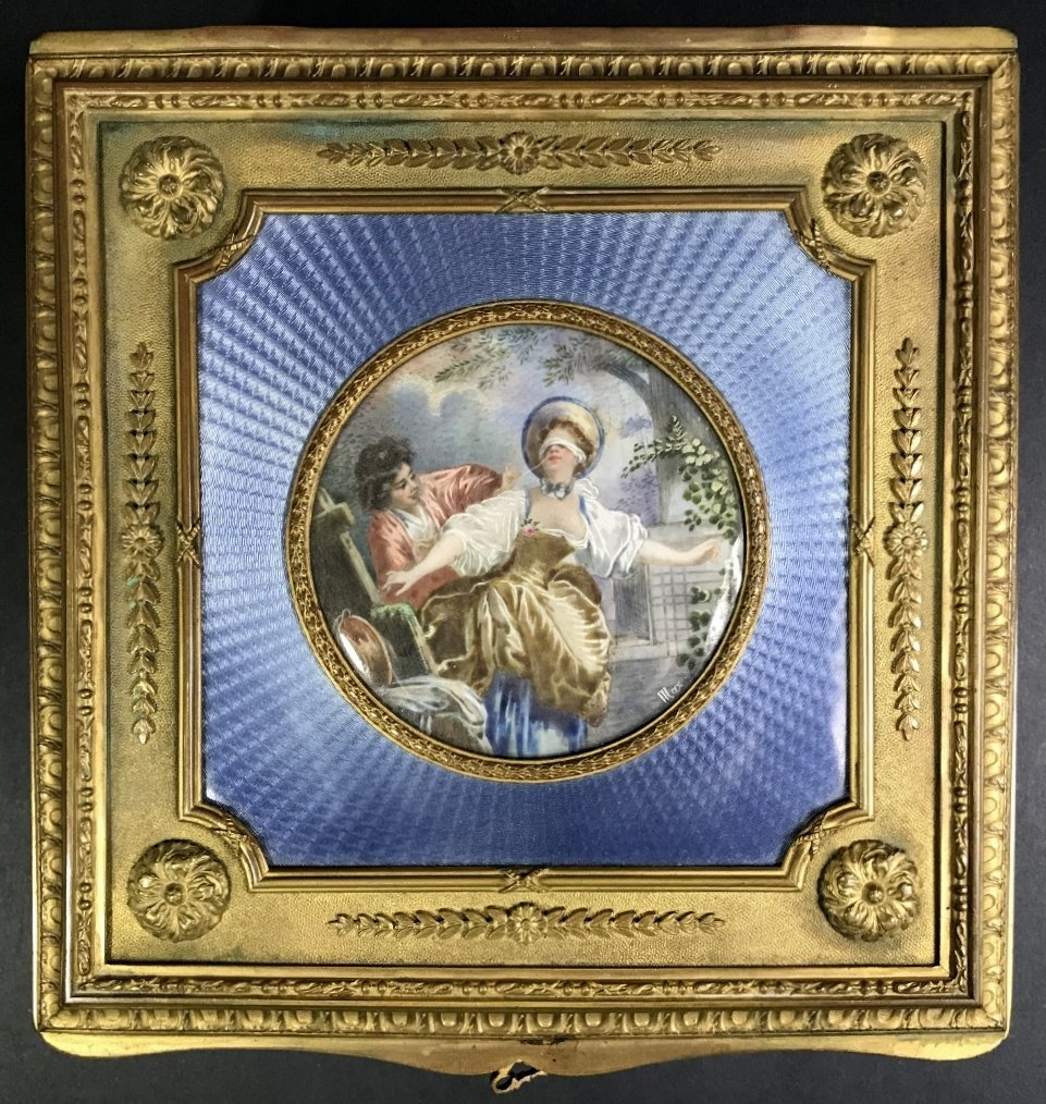 Enamel French dresser box, w/ miniature painting,c1900