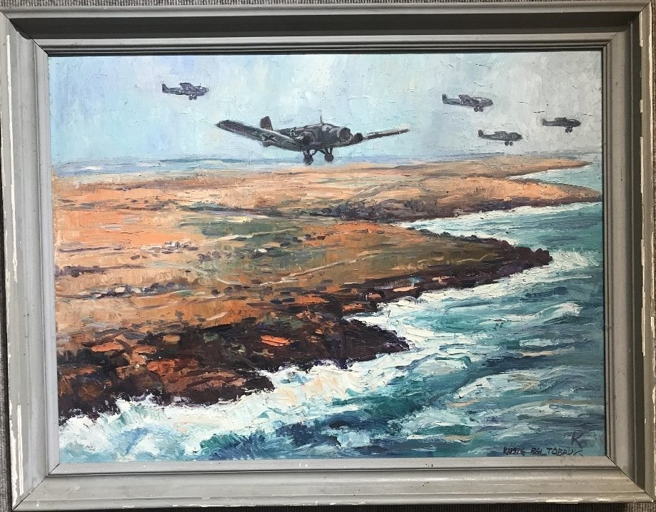 "Painting of WW2 by Karl Dorrfuss, ""Invasion of Tobruk"""