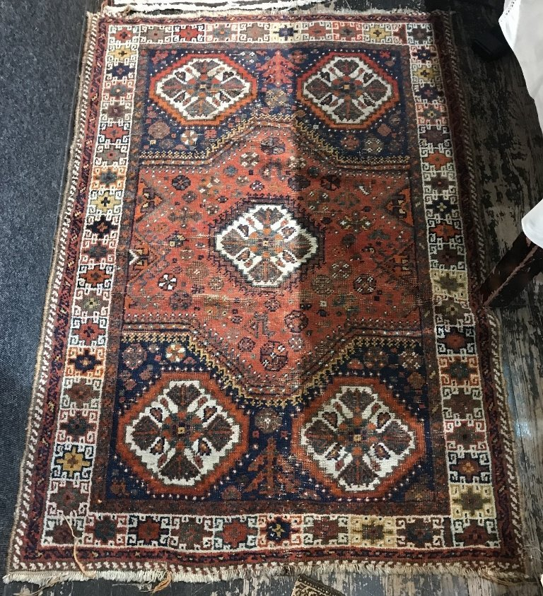 Handmade oriental scatter rug, c.1900