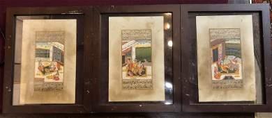 Three Indian or Persian miniatures