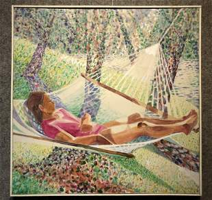 Painting of woman on hammock by Marjorie Freund