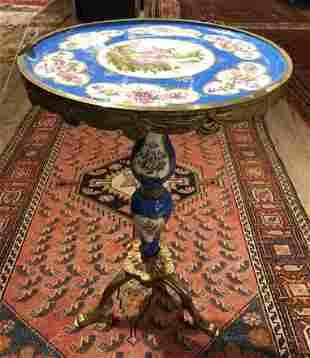 Porcelain & bronze Louis XV style table, c.1950