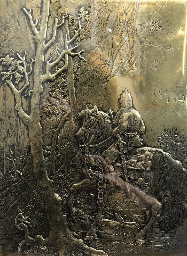 Gilt bronze book plate, warrior on horseback, c.1900 - 2