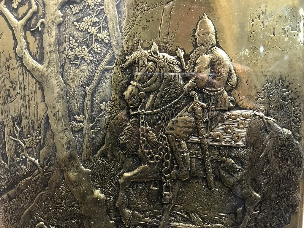 Gilt bronze book plate, warrior on horseback, c.1900 - 3