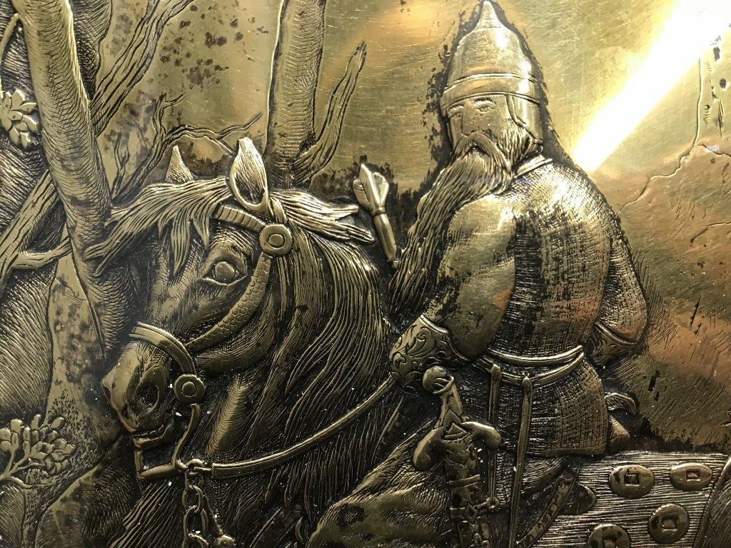 Gilt bronze book plate, warrior on horseback, c.1900 - 4
