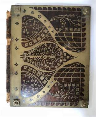 Erhard and Sohne wood & brass book cover, c.1910