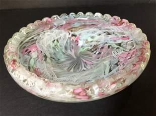 Venini circular latticino bowl, c.1950