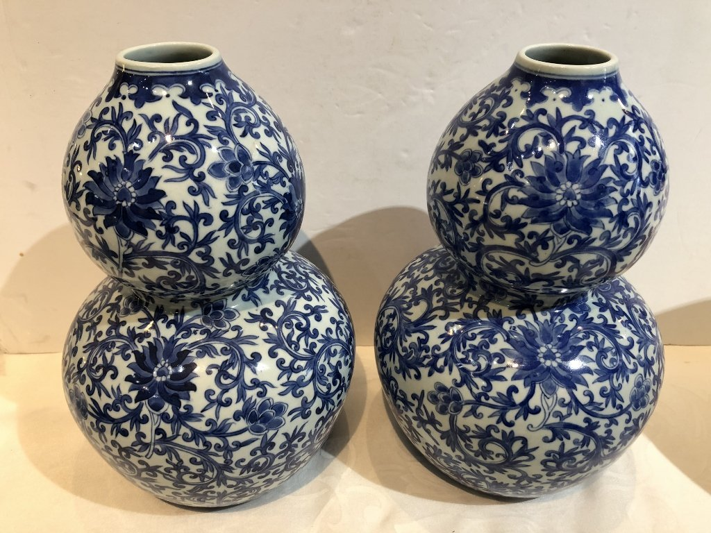 Pair of Chinese double gourd Republic vases-drilled