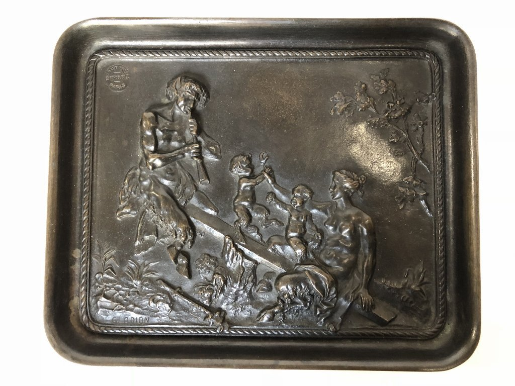 Bronze tray by C.M.Clodion, Thiebaut Freres fdry