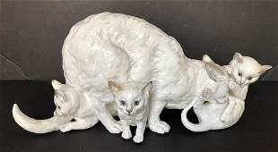 Ceramic cat sculpture, circa 1900