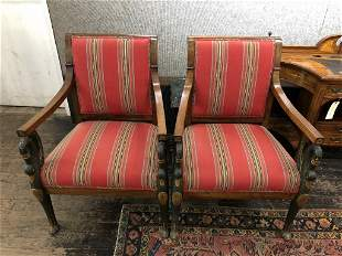 Pair of carved wood Neoclassical swan chairs
