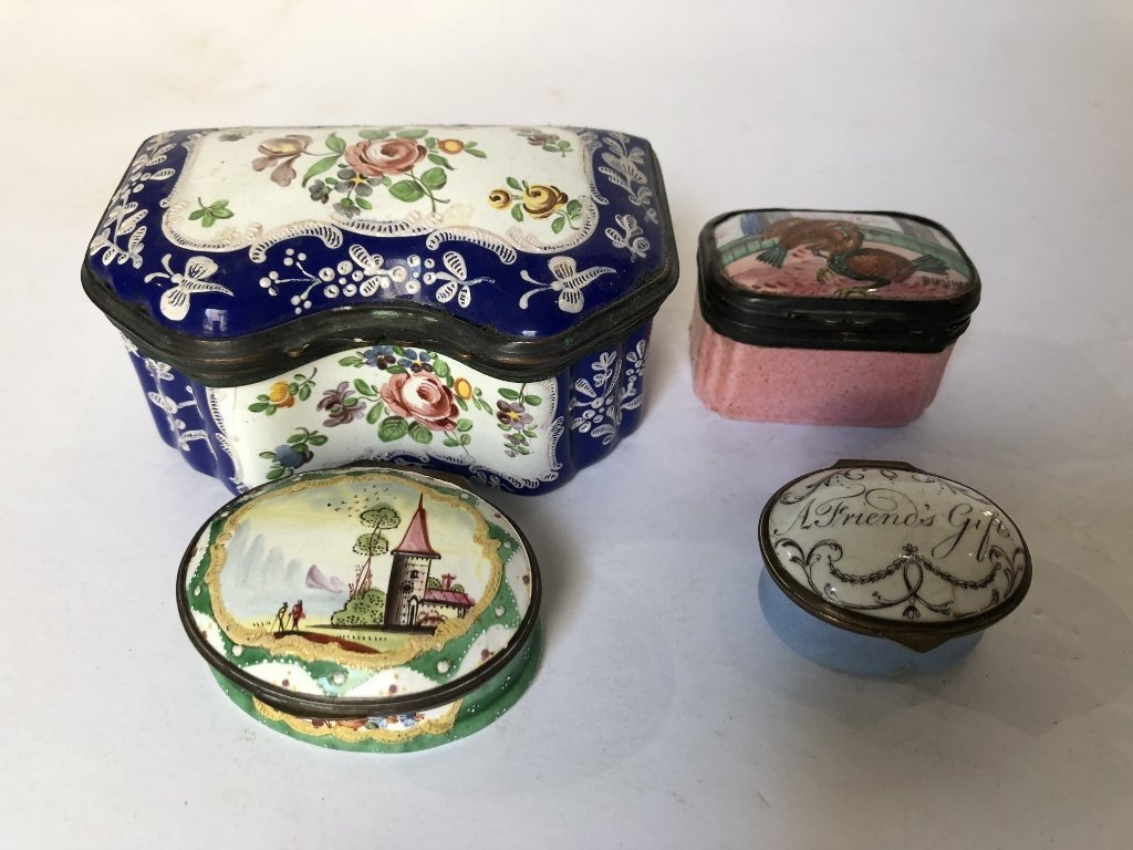 Four 18th/19th century enamel boxes