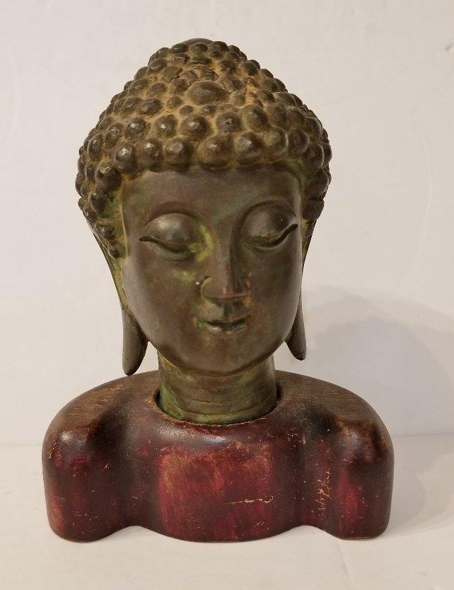 Chinese bronze buddha head, wood base