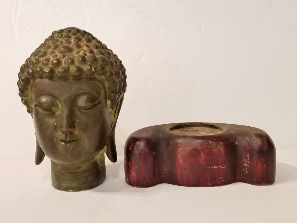 Chinese bronze buddha head, wood base - 4