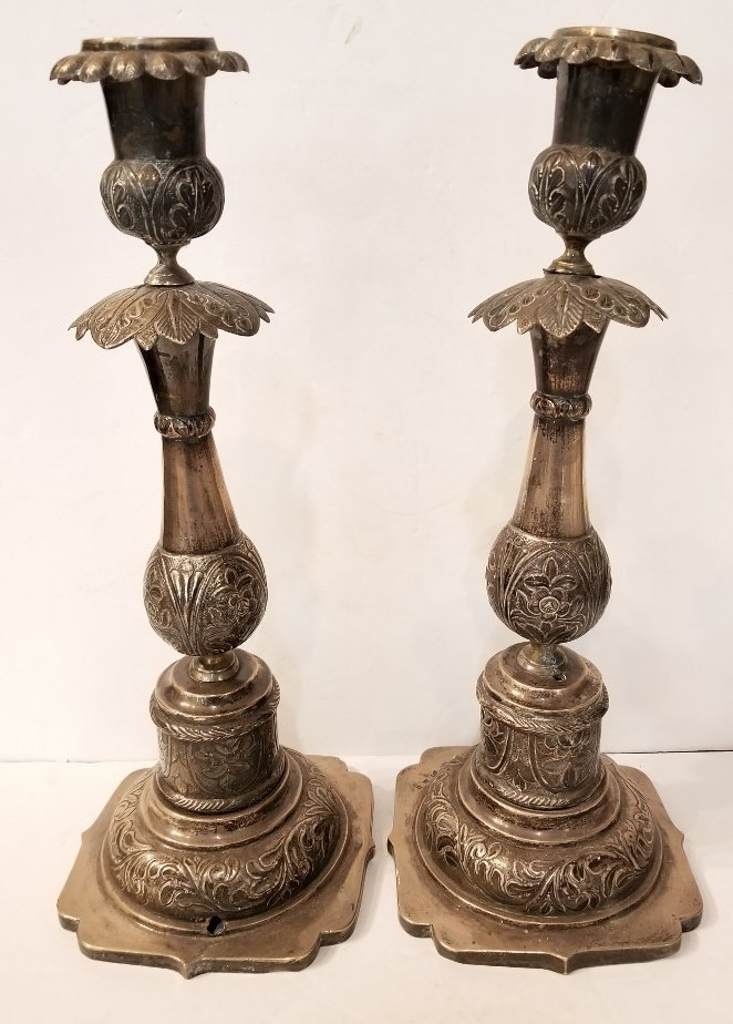 Pair of Russian silver candlesticks, dated 1867 - 2
