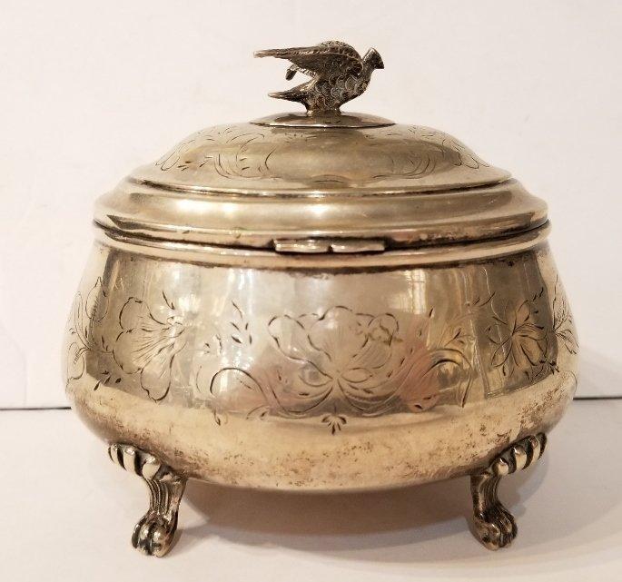 Austrian 800 silver sugar box with bird, c.1900