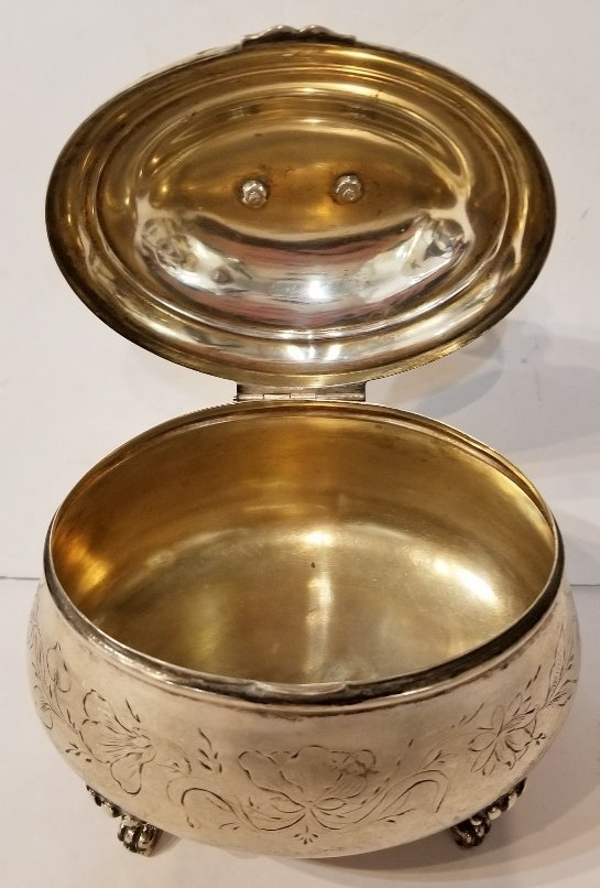 Austrian 800 silver sugar box with bird, c.1900 - 3