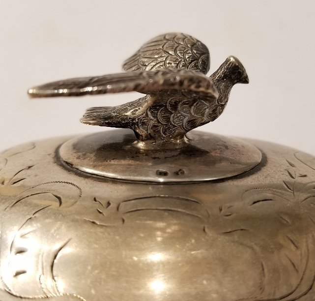 Austrian 800 silver sugar box with bird, c.1900 - 4