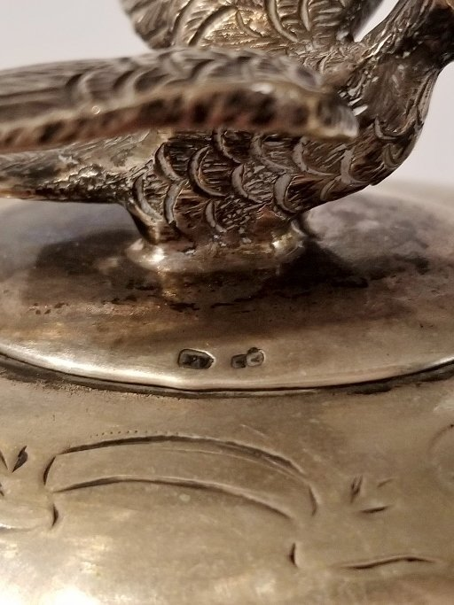 Austrian 800 silver sugar box with bird, c.1900 - 8