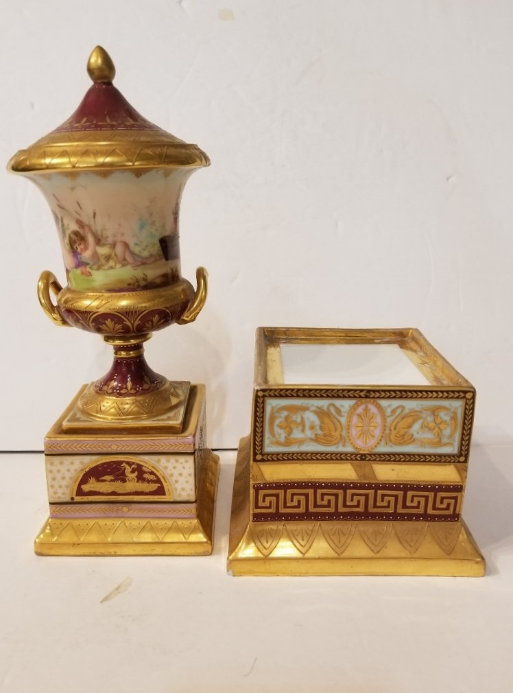Pair of Royal Vienna covered urns, c.1880 - 7