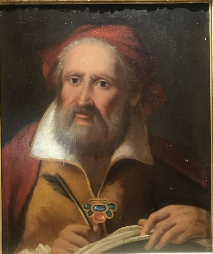 Old Master painting on wood, scholar with pen. 17thc - 2