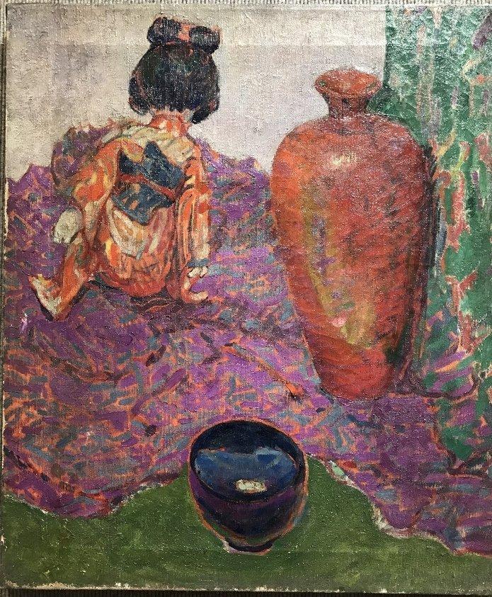 Painting of Japanese girl w/ vase, Bacia Gordon, c1930
