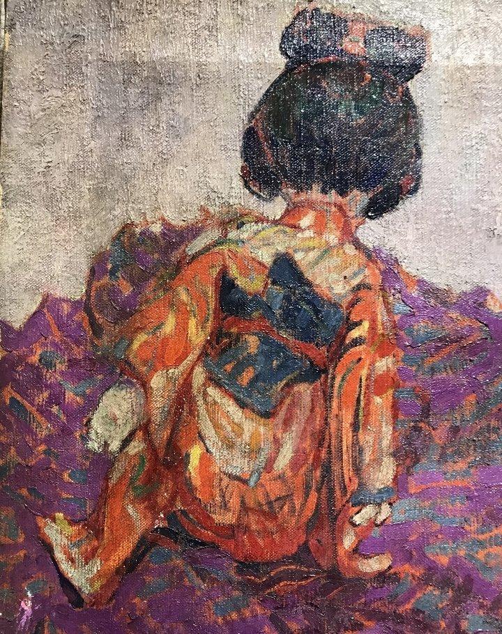 Painting of Japanese girl w/ vase, Bacia Gordon, c1930 - 3