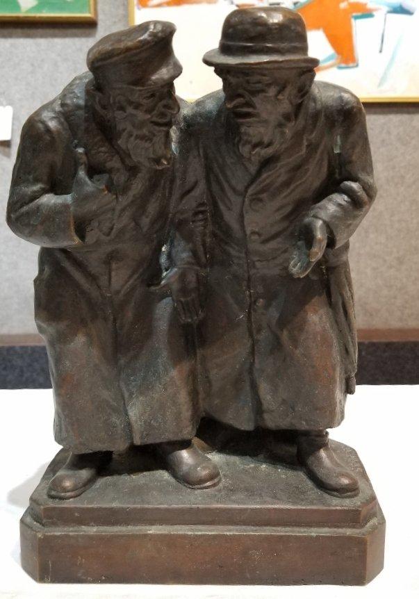 Anti Semitic bronze of Jews by Gheorghe Stanescu