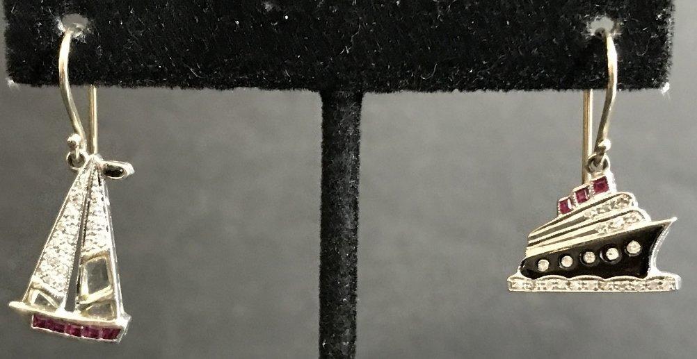 Platinum 1930's diamond nautical charm earrings, wires