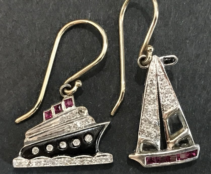 Platinum 1930's diamond nautical charm earrings, wires - 2