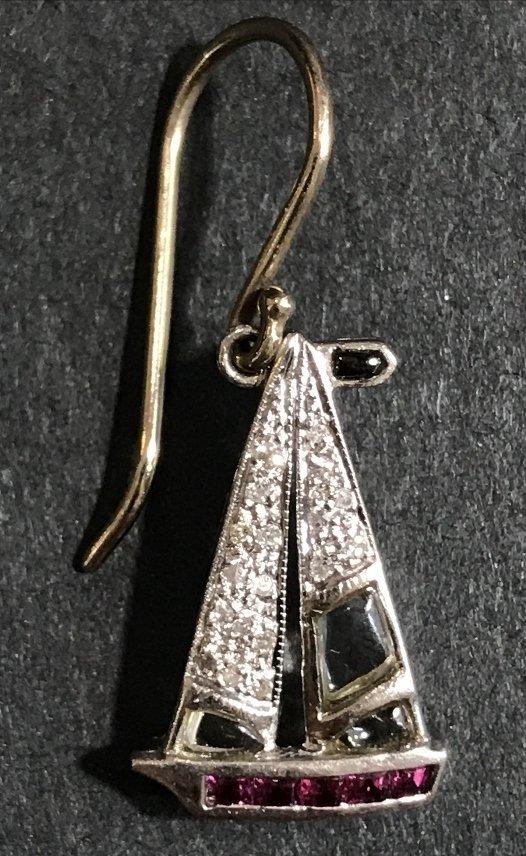 Platinum 1930's diamond nautical charm earrings, wires - 3