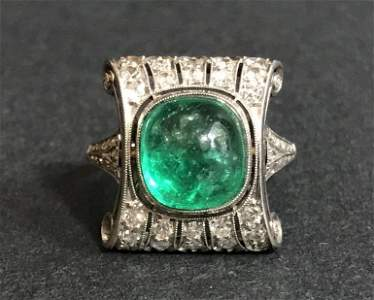 Platinum emerald diamond ring, c.1920, 4.6 dwts